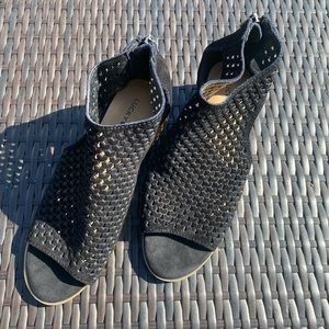 Lucky Brand Black Suede Peep Toe Booties Size 8
